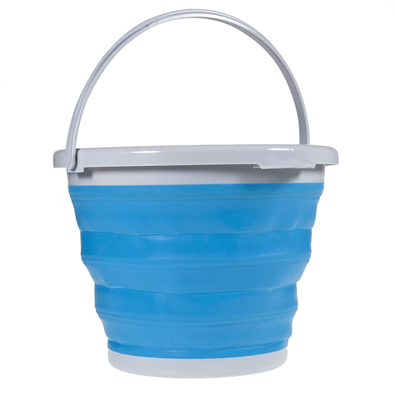 Folding Bucket Practical Bucket For Fishing Car Wash Water Container Portable Silicone Fishing Supplies   5L Outdoor Accessories