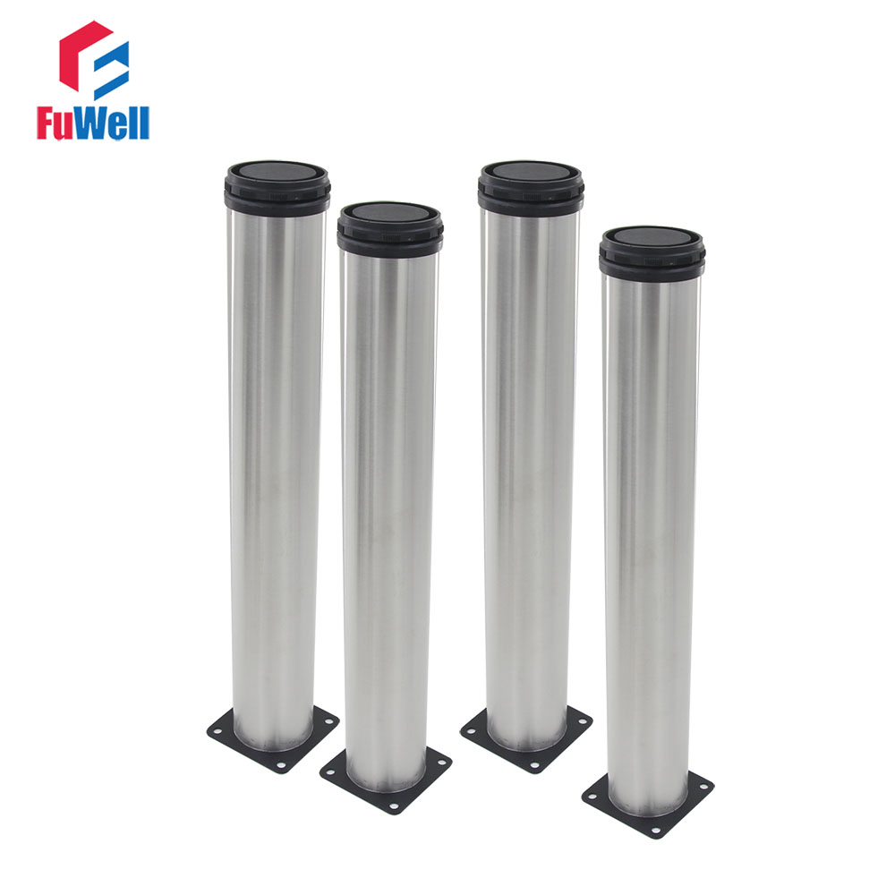 4pcs 400mm Length Furniture Legs Adjustable 15mm Silver Tone Stainless Steel Table Bed Sofa Leveling Foot Cabinet Legs bqlzr 150x63mm square shape silver black adjustable stainless steel plastic furniture legs sofa bed cupboard cabinet table bench