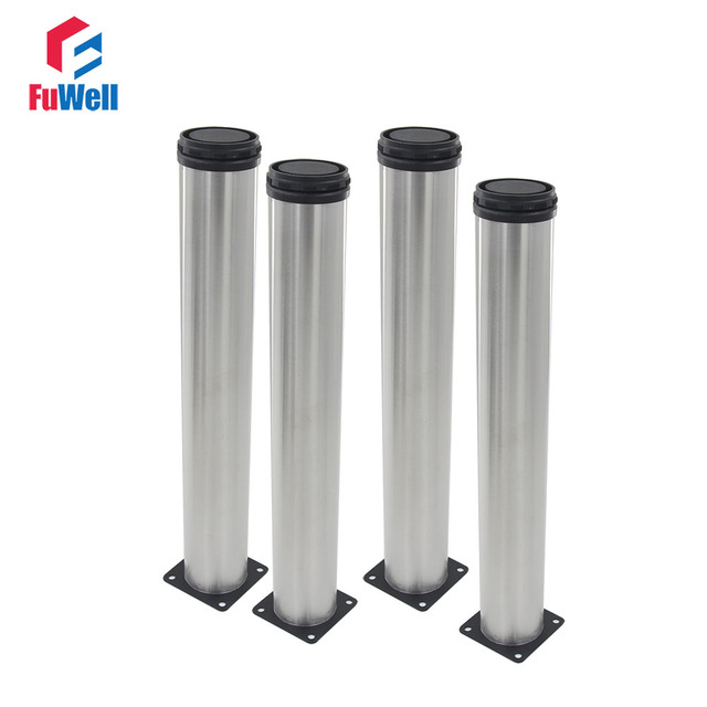 4pcs 400mm Length Furniture Legs Adjustable 15mm Silver Tone Stainless  Steel Table Bed Sofa Leveling Foot