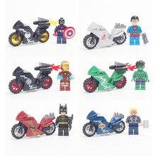 Super Heroes DC Avengers Minifigures Military Motorcycle Building Blocks Iron Man Model Bricks Compatible legoed Toys Children