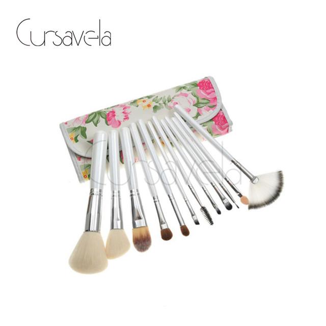Conjunto de Pincel de maquiagem Rosa Estilo 12 Cosmetic Brushes Set Fundação Make up Blush Rosto Pincel de Pó de Luxo