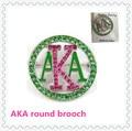 New AKA rhinestone pin brooch pink green enamel pin women 40mm sorority greek jewelry decoraction,5-10pcs,OGB005
