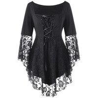 CharMma 2017 Gothic Autumn Plus Size 5XL Square Collar Flare Sleeve Lace Hem Ladies Tops Black