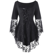 CharMma 2017 Gothic Autumn Plus Size 5XL Square Collar Flare Sleeve Lace Hem Ladies Tops Black Oversized Women Shirt Big Size