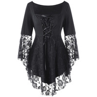 LANGSTAR 2017 Gothic Autumn Plus Size 5XL Square Collar Flare Sleeve Lace Hem Ladies Tops Black