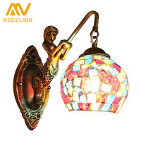 Vintage Mermaid Mosaic Bedroom Wall Lamp Stained Glass Bar Light Balcony Bathroom Led Mirror Light Indoor