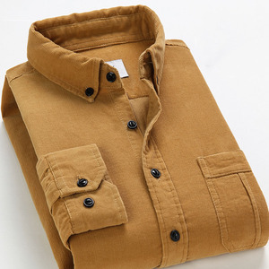 Image 4 - Camisa de pana de primavera para hombre, camisa 100% de algodón de manga larga, ajustada, color rojo vino, 4XL