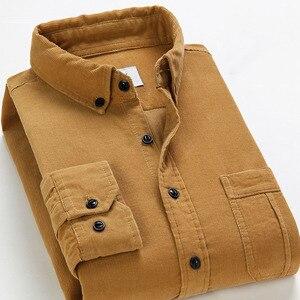 Image 4 - ฤดูใบไม้ผลิผู้ชายCorduroyเสื้อ 100% Cottonยาวแขนเสื้อBottomingเสื้อSlimไวน์แดงคุณภาพสูง 4XL