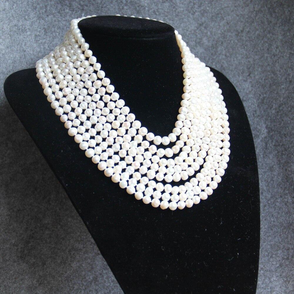 Nouveau collier chaud 7-8mm blanc Long multicouche collier de perles d'eau douce femmes collier Choker charme fille chaîne bijoux de fête
