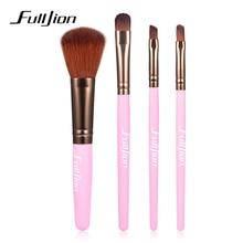 Filljion 4Pcs Pro Paintbrushes of Makeup Brushes Wooden Handle Make Up Brush Blush Foundation Hand to