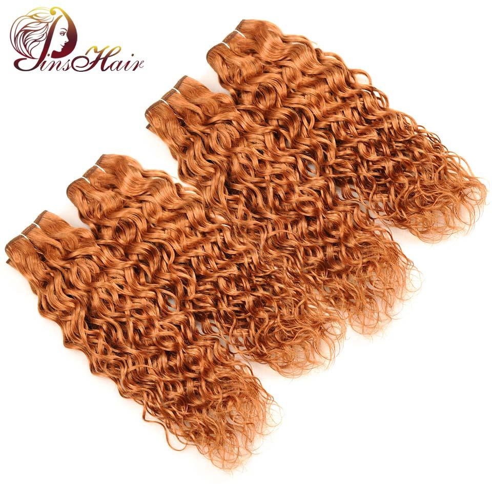 Pinshair перуанский волна воды Человеческие волосы блондинка #30 4 Связки не Волосы Remy мокрые волнистые волна воды Мёд светлые волосы толстые пуч...