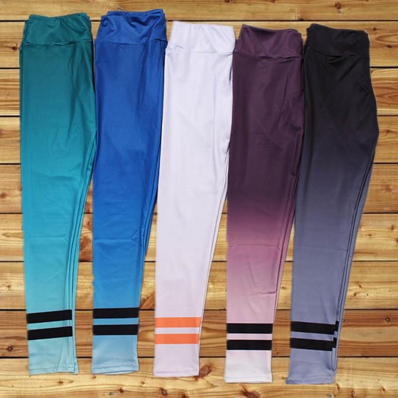 Sexy Hips Solid High Waist Women Yoga Pant Fitness Elastic Capris Sport Leggings Striped Ballet Tights Gym Trouser Slim Jeggings
