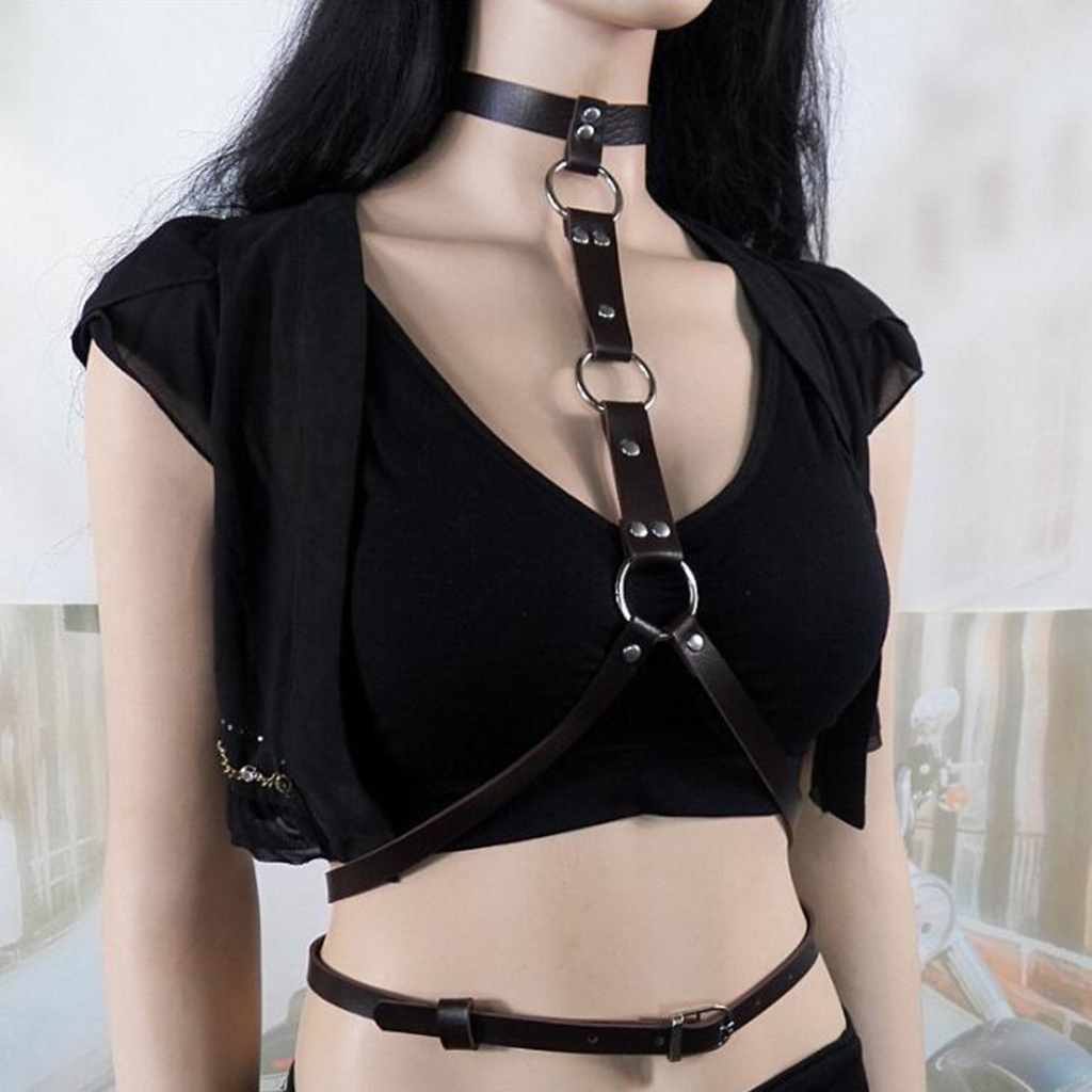 Womens PU Leather Harness Adjustable Waist Belt Gothic Body Straps Clubwear For Dating Parties Costumes Cosplay Nightclub