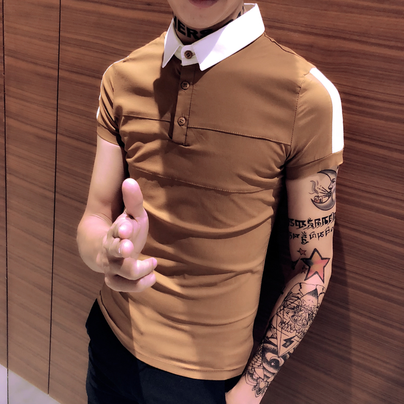 2018 New Product Man Short Sleeve Self-cultivation Lapel T Pity Tide Male Unlined Upper Garment Favourite Free shipping