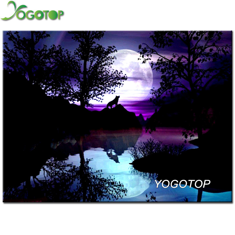 YOGOTOP DIY Diamond Embroidery moon Wolf Full Square Rhinestone Sets 5D Diamond Painting Cross Stitch night Home Decor QA438