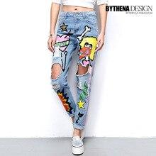 Весенние и летние женские рваные джинсы в стиле хип-хоп с блестками и рисунком граффити, Женские джинсовые штаны 1545