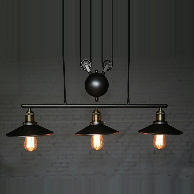 Retro Iron Pulley Pendant Lights Loft