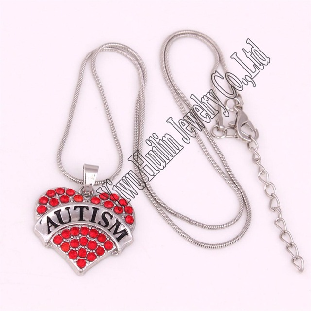 New Arrival Zinc Studded With Rhinestone Autism Charm Necklace Snake Chain