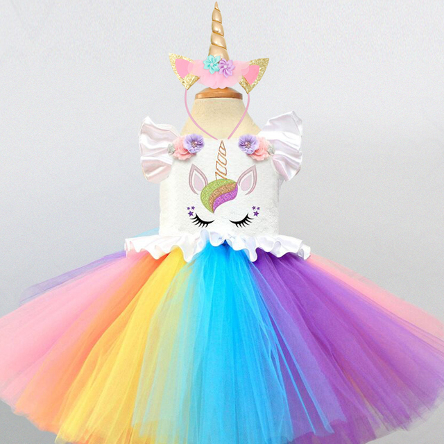 f409c3e861c2a Baby Girl Tutu Dress Fancy Rainbow Princess Unicorn Dress+Headband Costume  Kids Girl Party Dresses Children Summer Frocks 5 Year