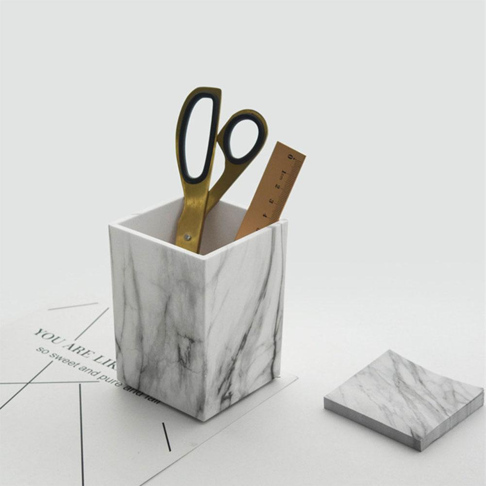 Stylish Marble Printed Desk Pen Pencil Holder Case Box Modern Elegant Stationery Organizer For Office Classroom Home