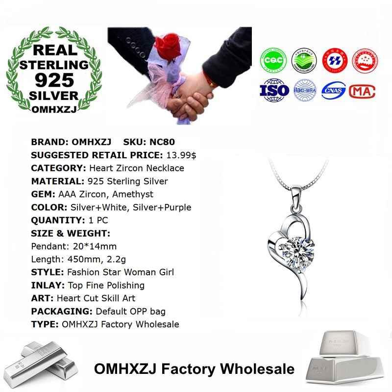 OMHXZJ ขายส่งบุคลิกภาพแฟชั่น OL ผู้หญิงของขวัญหัวใจอัญมณีสีขาว AAA Zircon สร้อยคอจี้เงิน 925 NC80