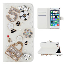 for OnePlus 7 3D Bling Diamond Rhinestones Angel Flower Pattern PU Leather Wallet Case Flip Stand Card Slots Cover OnePlus 7