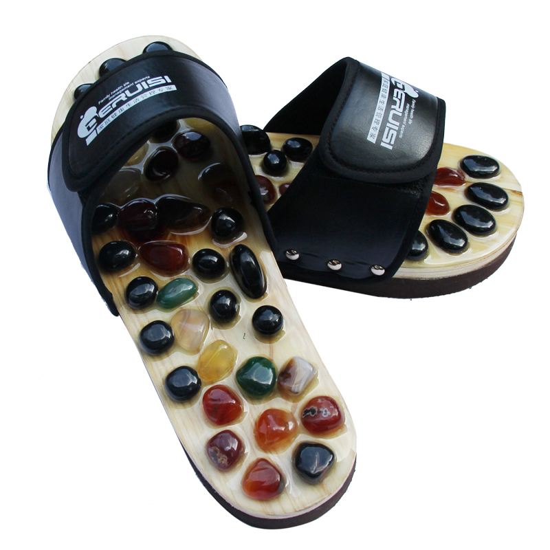 Free shipping massage natural cobblestone agate stone massage slippers foot care at home acupoint seniority acupuncture