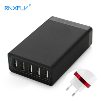 RAXFLY 5 Poorten USB Charger USB Laders A.C. bron Laadstation Desktop Universele EU AU UK US voor iPhone Samsung PC Laptop