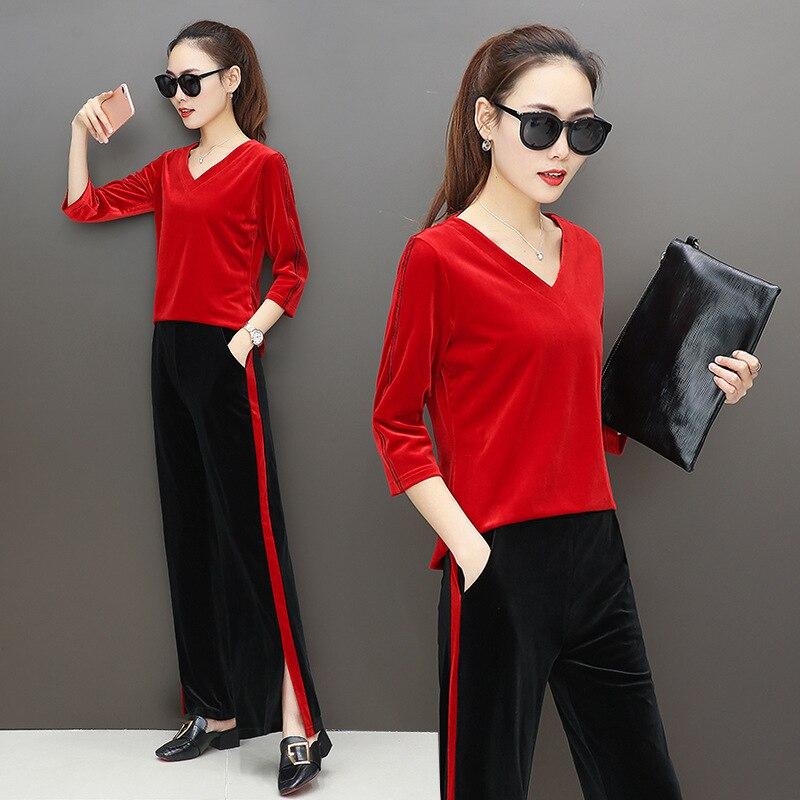 Popular Pleuche Womens 2 Pieces Outfits V Neck Tops and Split Sweat Pants Tracksuit Set Female Sportwear M-3XL