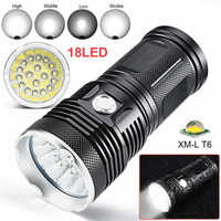 18 x XM L lanterna led t6 4 Modes Flashlight Torch 4 x 18650 Hunting Lamp powerful led flashlight laser pointer #4S22