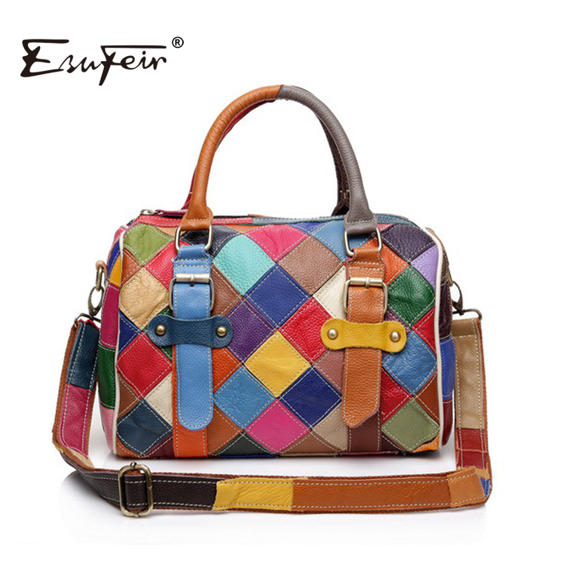 ESUFEIR Patchwork Genuine Leather Boston Women Handbag Fashion Shoulder Bag Cowhide Splice Women Bag bolsos sac a main KJ054 esufeir brand genuine leather women handbag cow leather patchwork shoulder bag fashion women messenger bag tote bags sac a main