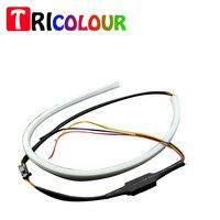 2pair Lot Car LED DRLTears Light Daytime Running Lamp 60CM DRL Turn Light White Yellow 335