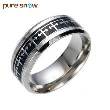 Fashion Men 's Stainless Steel Rings Cross Titanium Steel Ring Black Carbon Fiber Ring Wedding Party Birthday Female Jewelry