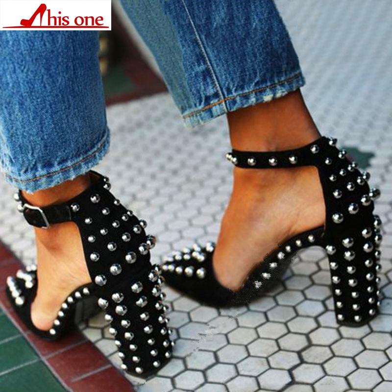 Tacones Súper Sandalias Negro 43 Zapatos Pie Dedo Primavera Punta Cuadrados 35 Mujer Remaches Del 2018 Marca Mujeres Moda Más q44wPA