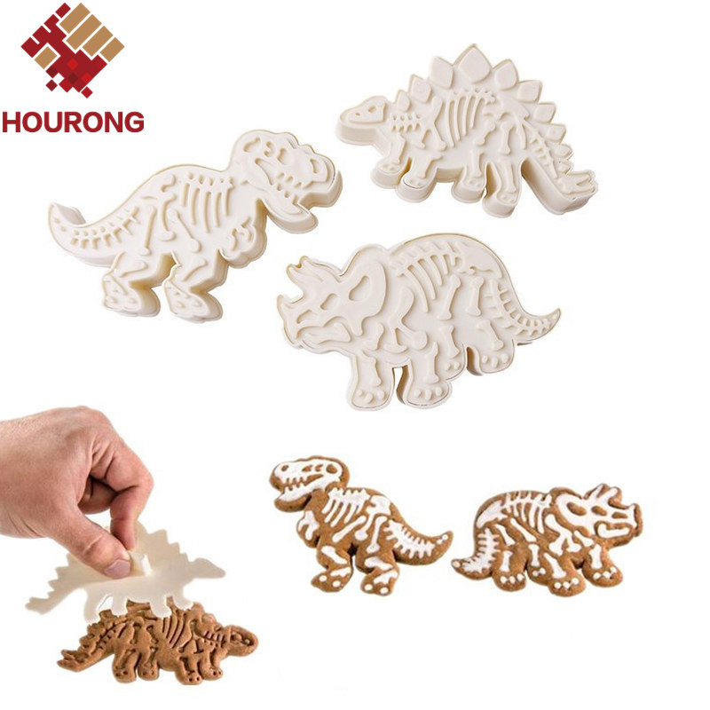 HOURONG Dinosaur Cookies Cutter Biscuit Embossing Mould 3D Biscuit Sugarcraft Dessert Baking Mold Fondant Cake Decoration Tool image