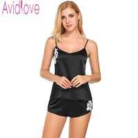 Avidlove Women Satin Cami And Shorts Set Lace Nightgowns Comfy Pajamas Sexy Nighties Artificial Silk Sleepwear