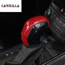 炭素繊維車のシフトノブ保護カバー fit プジョー 308 308s 408 2016 2019 でギアヘッドノブトリムステッカー Accessiories