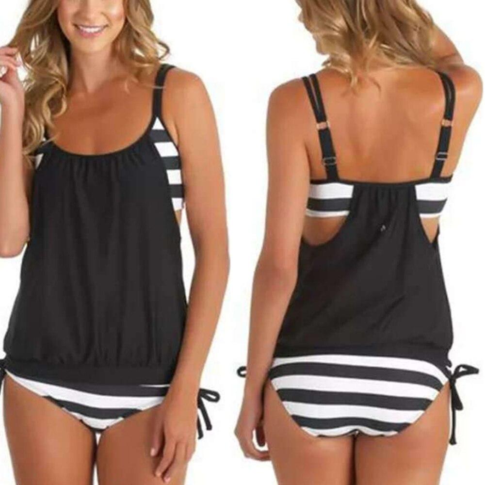Sexy Two Piece Women Bathing Suit Padded Swimming Suit Stripe Bottom Sport Swimwear