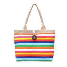 Rainbow Stripes Tote Bag Young Color Shoulder Bag Large Capacity Handbag Durable Canvas Shopping Bag for Women Mochila все цены