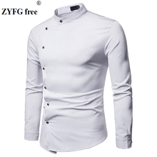 New spring and summer casual tops men's shirt long-sleeved solid color oblique placket shirts youth tide take simple style 2019 недорого