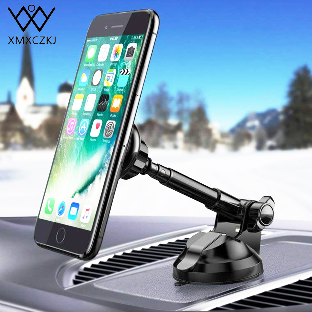 XMXCZKJ Magnetic Car Mobile Cell Phone Holder Mount Flexible Arm Universal GPS Smartphone Magnet Stand Support For iPhone X 8 XS