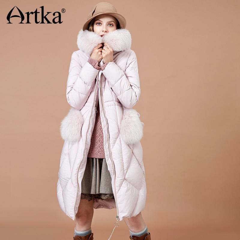ARTKA 2018 Down Coat Winter Women Warm Down Parkas With Fur Hooded Pocket Thicken 90% White Duck Long Jacket Outwear YK10186D