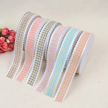 Fashion Hot Sale Tartan Nail Fine Thread Lace Ribbon 1.6cm*20 Yards Width New DIY Bow Jewelry Headwear Wholesale