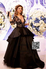 V-ausschnitt Sexy Black Lace Nude Inneren Frauen Abendgesellschaft Kleid Ballkleider Celebrity Dress Long Sleeves Brautkleider