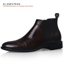 ELANROMAN Luxury mens shoes British Style Full Grain Leather Coffee Colour Mens High-grade Boots Comfortable Casual Basic Shoes