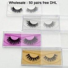 Gratis DHL 50 pairs 3D Mink Wimpers Groothandel 100% Echte Nerts Handgemaakte Nertsen Collection Wimpers 32 Stijlen Glitter Verpakking