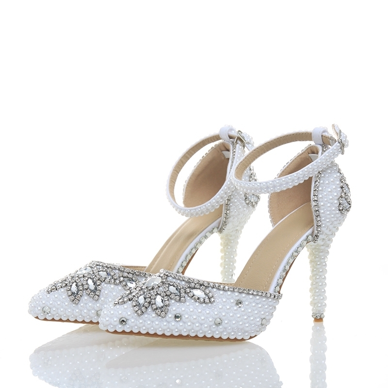 2018 Newest Handmake White Pearl Rhinestone 4 Inches Pointed Toe Delicate Bridal Wedding Shoes Party Prom Banquet High Heels2018 Newest Handmake White Pearl Rhinestone 4 Inches Pointed Toe Delicate Bridal Wedding Shoes Party Prom Banquet High Heels