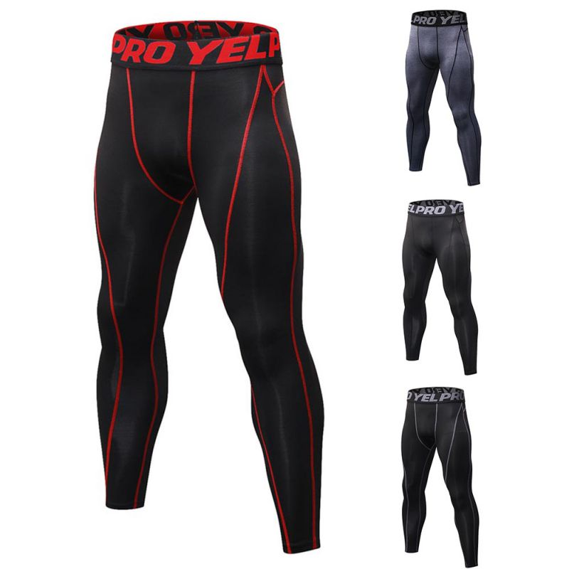 Running Tights Men Sports Leggings Sportswear Long Trousers Yoga Pants Winter Fitness Compression Quick-drying Pants active random floral print quick drying yoga leggings in multi