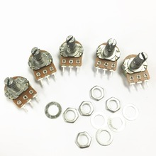 Free shipping 100pcs  High Quality WH148 B1K Linear Potentiometer 15mm Shaft With Nuts And Washers Hot