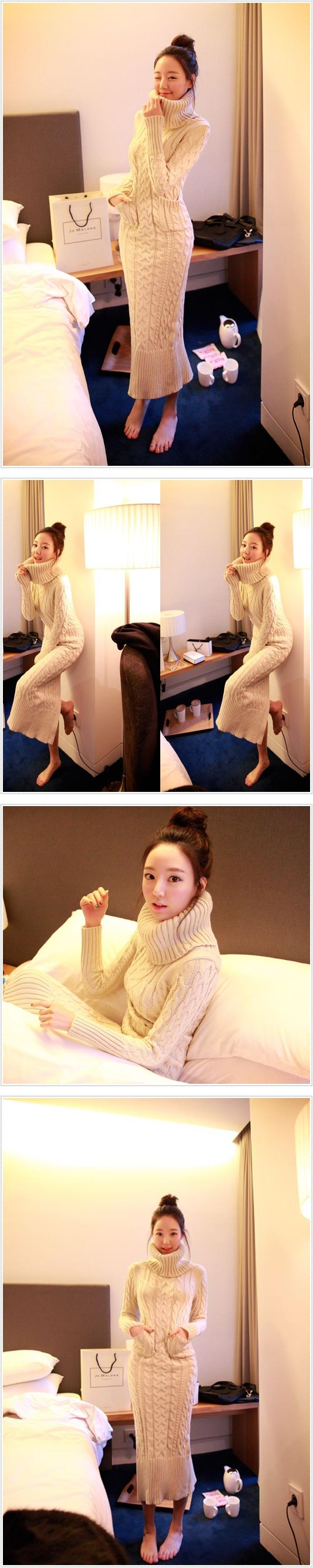 OHCLOTHING 19 European winter wool knitting female thickening noble temperament self-cultivation long bottom Sweaters 23